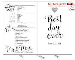 wedding program fans template best day wedding program fan warm colors