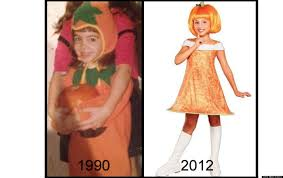 pumpkin costume halloween girls u0027 halloween costumes then and now the evolution from silly