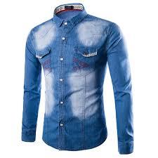 designer fashion slim stone washed denim designer shirts for men