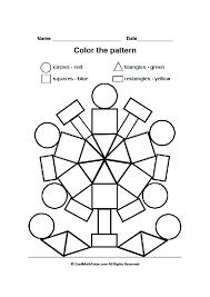 printable color by shape worksheet for preschool kids color by