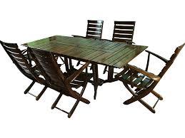 Teak Patio Dining Set - triconfort teak outdoor dining set set of 8 chairish