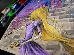 rapunzel time lapse watercolor painting disney youtube