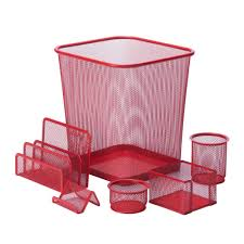 Office Desk Organizers Accessories by Honey Can Do 6 Piece Steel Mesh Desk Set In Red Ofc 04880 The