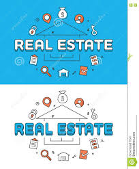 Selling House Linear Flat Real Estate Selling House Icons Vector Stock Vector