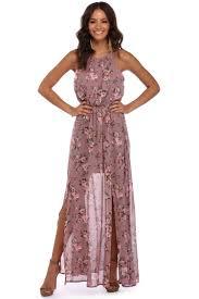 chiffon maxi dress mauve floral in chiffon maxi dress