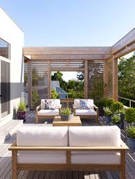 outdoor privacy screen deck contemporary with white patio cushions