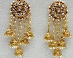 bridal jhumka earrings gold jhumkas etsy