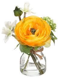 Silk Flower Depot - silk ranunculus and daffodil arrangement in glass vase rustic