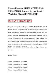massey ferguson mf230 mf235 mf240 mf245 mf250 tractors service repair u2026