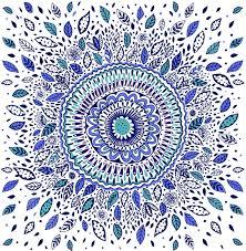 indigo flowered mandala art print indigo flower flower mandala