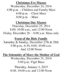 christmas mass schedule 2014 through solemnity of mary 2015 st