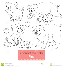 connect the dots farm animals set pig family stock vector