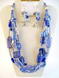 glass beads necklace images Blue fish sea star starfish glass beads multi layer necklace jpg