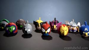 bird figures angry birds marvel superheroes clay models avengers wolverine
