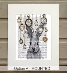 alice in wonderland print rabbit time by fabfunky home decor