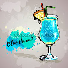 blue hawaiian cocktail drawn cocktail blue hawaiian pencil and in color drawn cocktail