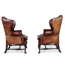 High Back Leather Armchair Pair Of Early 20th Century Brass Tacked Tufted Leather High Back