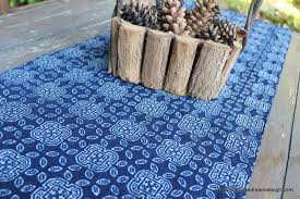 table runner in hmong natural indigo blue batik siamese dream design