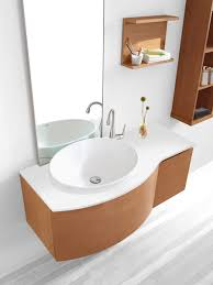 contemporary vanity design alongside solid square floating top for