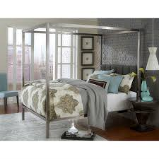 Upholstered Canopy Bed King Size Modern Metal Canopy Bed With Upholstered Headboard
