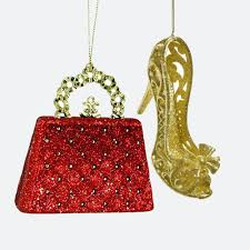 glittery purse and heel hanging ornament set