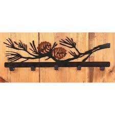 wrought iron pine cone collection coat hooks