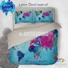watercolor world map bedding boho chic blue world map duvet cover