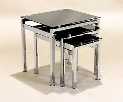 three piece table set nest of tables black glass chrome three piece l side end coffee
