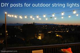 diy poles for outdoor globe string lights on the deck that diy