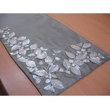 decoration fabulous table linen floral embroidery in grey silver