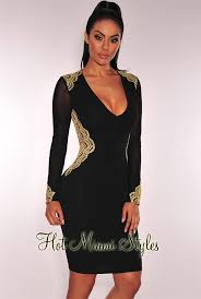 black and gold dress black gold embroidered sheer sleeves dress