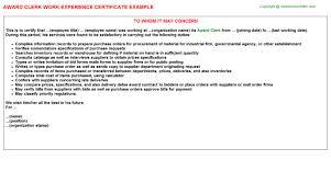 award clerk work experience certificate