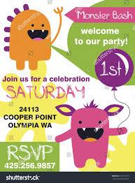 monster invitation monster party invitation card design vector stock vector 146175578
