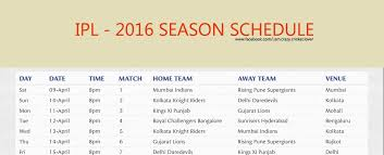 2016 ipl match list ipl 2016 all matches schedule and places details youtube
