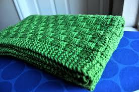 Green Throw Rug Blanket Stockinette