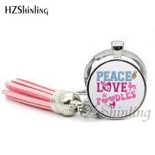 Black Purple Pink Green Peace by 2017 Fashion Peace Love Vegan Keychain Silver Tassel Bohemian