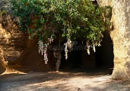 catacomb entrance with tree and pieces of cloth stock photo