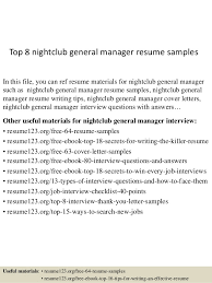Best Nursing Resume Examples by Top 8 Nightclub General Manager Resume Samples 1 638 Jpg Cb U003d1437640497