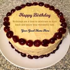 add name text in cherry butter happy birthday cake image