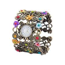 bracelet wrist watches images Floral filigree and rhinestone cuff bracelet wrist watch caravan jpg