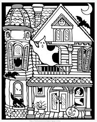 Coloring Pages Of Halloween by Creepy Haunted House In Houses Coloring Page Monster House