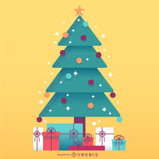 christmas tree with gifts illustration vector download