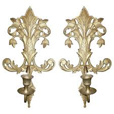 Brass Sconces Brass Sconces With Candlestick Holders Acanthus Leaf Design From