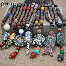 ethnic necklace jewelry images Yumfeel handmade nepal jewelry buddhist mala wood beads pendant jpg