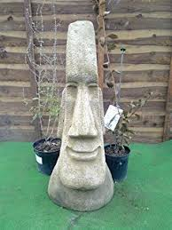 top value set of 3 large easter island moai figures garden