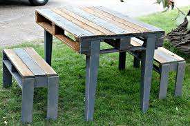 diy pallet patio table with benches pallet furniture