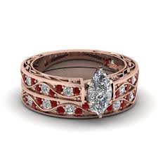 wedding band sets for marquise cut antique diamond filigree wedding set with ruby in 14k