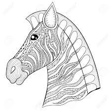 vector zentangle zebra head illustration horse print for