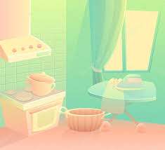 cozy and comfortable vector kitchen background cartoon kitchen in the house housewife