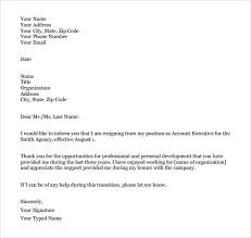 formal resignation letter template budget template free